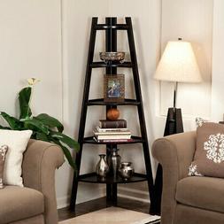 63 in. 5-Tier Corner Ladder Display Bookshelf Solid Wood and