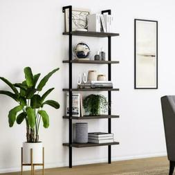 Nathan James 65501 Theo Wood Ladder Bookcase Rustic Wood and