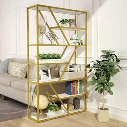 7-Tier Open Bookshelf with 7 Shelves Storage Capacity & Gold