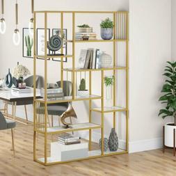 71''H Bookshelf White and Gold Modern Bookcase Elegant Stora