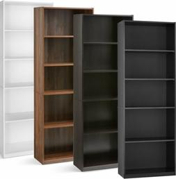 71 Inch Tall 5-Shelf Bookcase, Closed Back Adjustable White