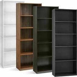 "71"" Tall 5-Shelf Standard Bookcase Closed Back Adjustable St"