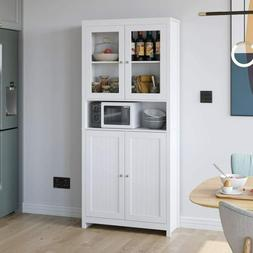 75'' Glass Doors Wooden Bookcase Kitchen Buffet Cupboard Cab