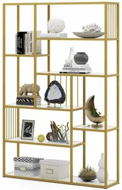 8 open shelves etagere bookcase with faux