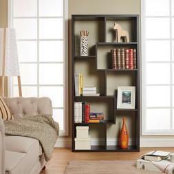 8-Shelf Bookcase Kamille Walnut Vertically or Horizontally O