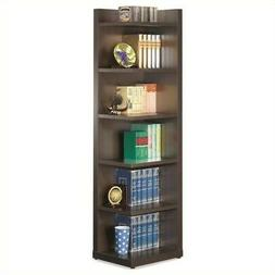 Bowery Hill 6 Shelf Corner Bookcase in Cappuccino