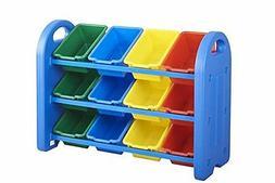 ECR4Kids 3Tier Toy Storage Organizer for Kids, Blue with 12