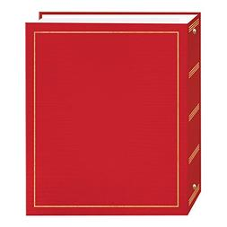 Magnetic Self-Stick 3-Ring Photo Album 100 Pages , Red