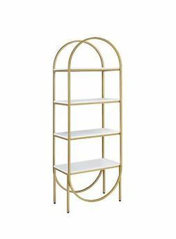 Acme Lightmane Bookshelf With White High Gloss And Gold 9266