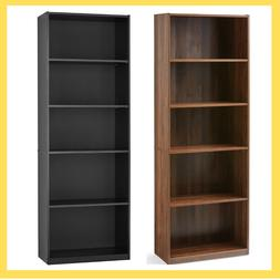 adjustable 5 shelf wood bookcase storage shelving