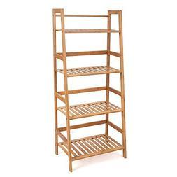 HOMFA Bamboo 4 Shelf Bookcase, Multifunctional Ladder-Shaped