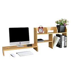 WAYTRIM Bamboo Monitor Stand with Bamboo Desktop Bookshelf C