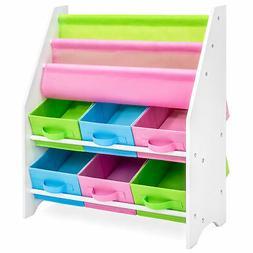 BCP Kids Toy and Book Storage Organizer Shelf Rack w/ 6 Bins