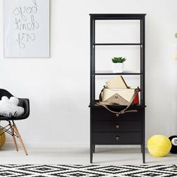 Black Finish Solid Wood Bookcase With Three Drawers And Four
