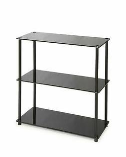 Convenience Concepts Book Rack - 3 Tier - Black Shelf - Glas