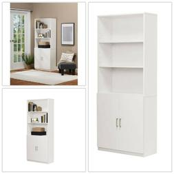 Bookcase Doors 3 Adjustable Shelves White Wood Composite Hom