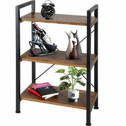 Tomcare Bookshelf  3-Tier Wood And Metal Shelves Industrial