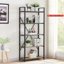 Bon Augure Bookshelf 5-Tier Etagere Bookcase, Wood And Metal