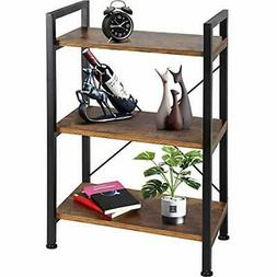 Bookshelf Bookcases 3-Tier Wood And Metal Shelves Industrial