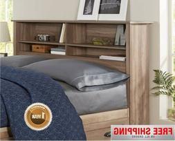Brown Rustic Wood Bookcase Headboard With Storage Shelf