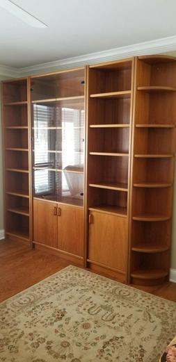Brown Wall Bookshelf, Glass Doors