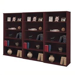 Bush Series C 5 Shelf 3 Piece Wall Bookcase Set in Mahogany