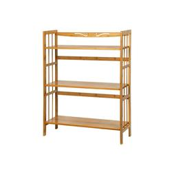 C&AHOME 3-Tier Bookshelf Storage Shelf Bamboo Wood Free-Stan