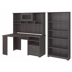 Bush Furniture Cabot Corner Desk with Hutch and 5 Shelf Book