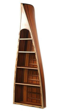 """Canoe Bookcase Book Shelf 90"""" Cedar Wood Strip Built Furnitu"""