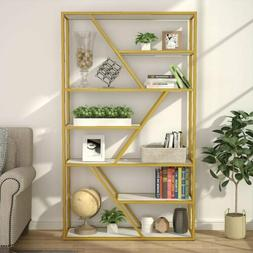 Charismatic Etagere 8 Shelf Bookcase Metal Frame White and G