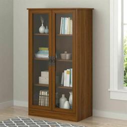 Cherry Finish Wooden Glass Door Bookcase Bookshelf Media Cab