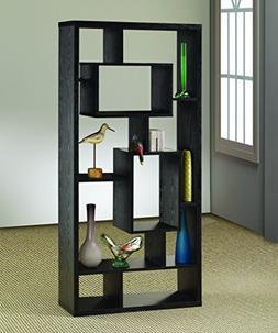 Coaster Contemporary Asymmetrical Cube Bookcase Black Finish