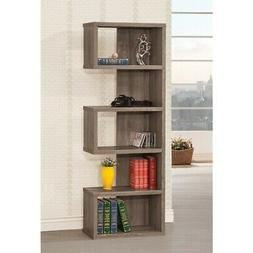 New Contemporary Weathered Grey Bookcase Semi-Backless Books
