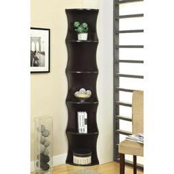 Corner Bookshelf Tall Bookcase Cappuccino Wood 5 Tier Shelve