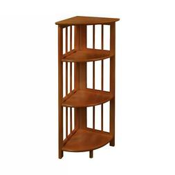 Corner Foldable Design Bookcase with 4 Shelf and Three Beam