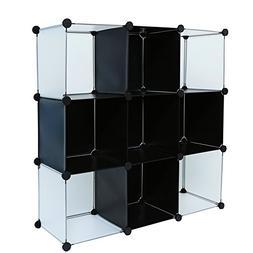 C&AHOME - DIY 9 Cube Bookcase Storage Organizer Media Shelf