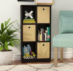 CUBE STORAGE 6-Cube Geometric Bookshelf with Fabric Storage