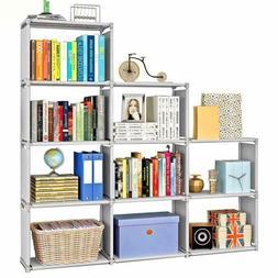 DIY Adjustable Bookcase, Bookshelf with 9 Book Shelves, Home