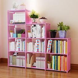cosway DIY Adjustable Home Furniture Bookcase Storage with 9