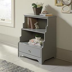 Eden Rue Accent Bookcase with Stepped Back Mottif - Gray - S
