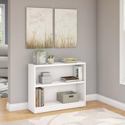Elevated Bottom Shelf and Front Base Rail 2 Shelf Bookcase i