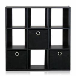 Espresso 9 Cube Bookcase Storage Organizer Wooden Office Boo