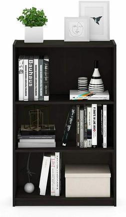 Espresso Oak Wooden 3 Shelf Bookcase Storage Bookshelf Shelv
