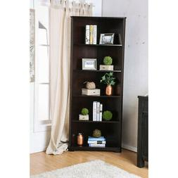 five shelves solid wood corner bookshelf dark