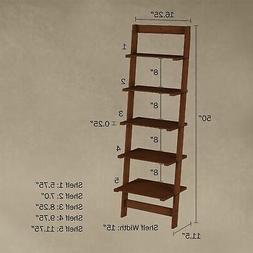 Five Tier Ladder Style Wooden Storage Bookshelf Display Brow