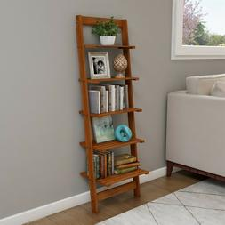 Five Tier Ladder Style Wooden Storage Bookshelf Display Cher