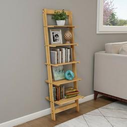 Five Tier Ladder Style Wooden Storage Shelf Natural Finish W