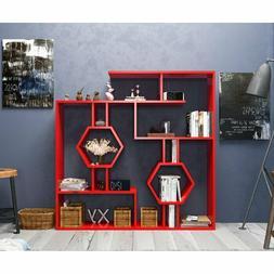 Geometric Bookcase Modern Bookshelf Display Shelving Wood Ho