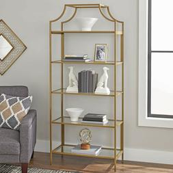 Gold Metal Glass Bookcase Shelf Large Tall Vintage Industria