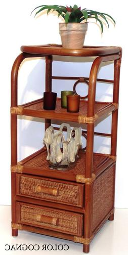 Handmade Bookcase Designer Rattan Wicker w/ 2 Drawers 3 Shel